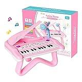 Shayson 24 Teclas Juguete de Piano para niña,Teclado Piano de Cola con micrófono Multi-función Instrumento Educativo Juguete de Musical Rosa Regalo del día del niño