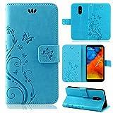 betterfon | Flower Hülle Handytasche Schutzhülle Blumen Klapptasche Handyhülle Handy Schale für LG Q Stylus Blau