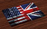 Ambesonne Union Jack Place Mats Set of 4, Alliance Togetherness Theme Composition of UK and USA Flags Vintage, Washable Fabric Placemats for Dining Room Kitchen Table Decor, Navy Blue