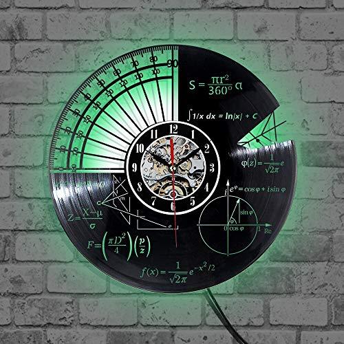 wtnhz LED-Reloj de Pared de Vinilo Ecuaciones matemáticas y notación matemática Pizarra Freak Record Vinilo salón de Clases decoración Reloj de Pared
