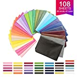 108 Sheets 36 Colors Art Tissue Paper, Wrapping Tissue Paper 20 x14 Inches for Arts Crafts Projects, Party...