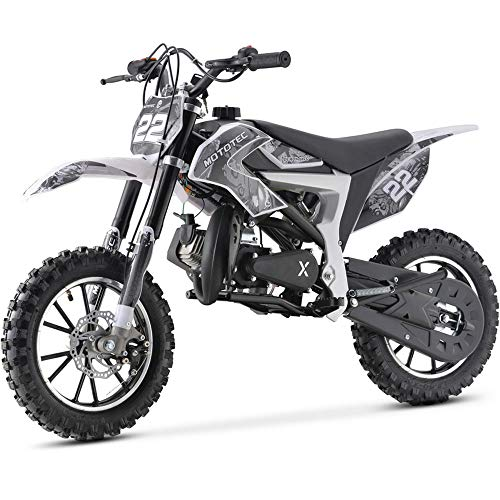 MotoTec 50cc Demon Kids Gas Dirt Bike 2-Stroke Motorcycle Pit Bike White