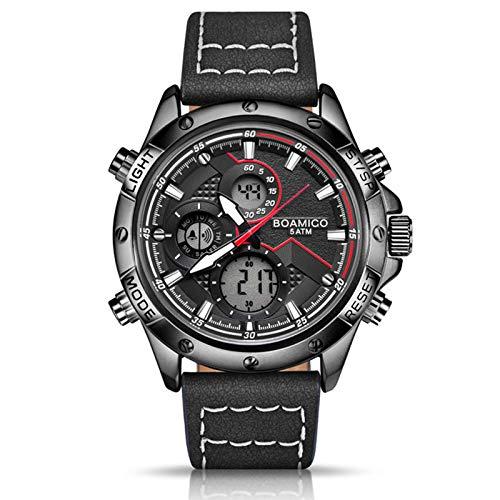 Reloj para hombre de moda militar digital analógico de cuarzo cronógrafo deportivo impermeable de cuero LED reloj hombre
