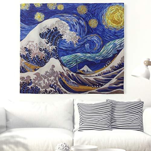 Japonés onda tapiz Sun Pared adornos artísticos Van Gogh (estrelladas nocturna y gran ola Fuji Berg pared Alfombra para el hogar Baño Dormitorio Salón decoración 91x59inch blanco