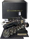 Maison Paul Kit completo de mantenimiento para zapatos de cuero, ante y nubuck. Juego de limpieza y abrillantado de calzado que incluye accesorios, cepillos y productos de cuidado