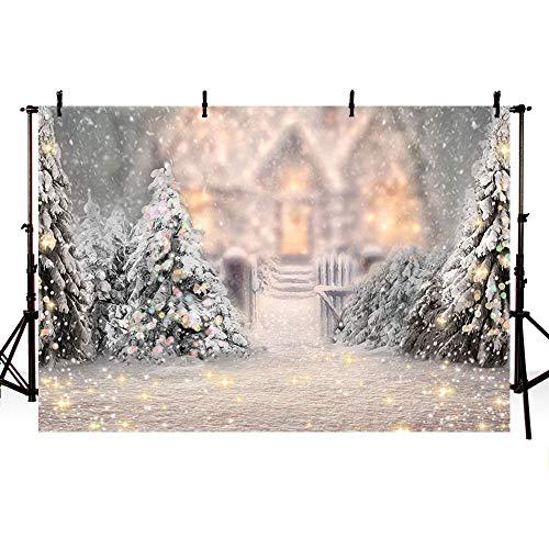 MEHOFOTO - Árbol de Navidad de Invierno, con Purpurina para Fondo de fotografía, Castillo de Bokeh