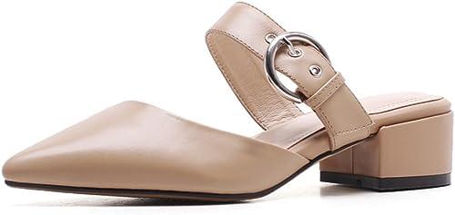 LNGXE Sandalias damen Zapatilla Chanclas WSXY-L0518 Hebilla de Cinturón Creativa Confort Peep Toe Tacón schuhe para Caminar