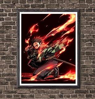 MS Fun Demon Slayer Kimetsu no Yaiba Fire of Tanjirou Japanese Anime Fabric Poster Wall Art Print,8 x 10 Inches,No Frame