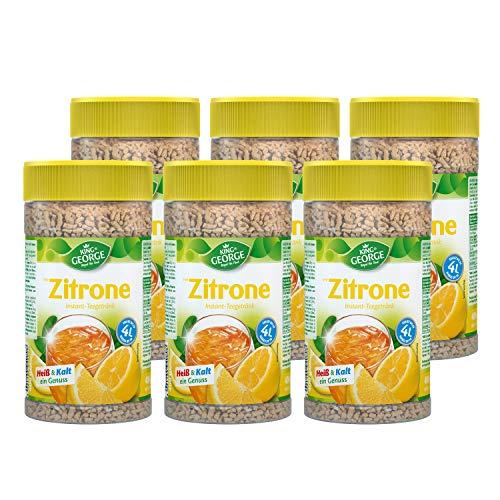 KING GEORGE - Royal Tea Time, Zitrone Instantgetränk 6 x 400 g, Heiß & Kalt ein Genuss, Instantteegetränk mit Zitronengeschmack, ergibt bis zu 4 l, Schwarzteeextrakt