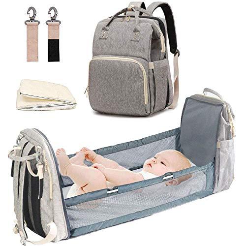 TEALP 3-1 Bolsa para cambiar pañales para bebés Mochila Bolsa de pañales portátil Cuna para portabebés a prueba de bebé Cuna convertible Bolsa de almacenamiento multifunción con tapete de esponja