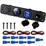 Linkstyle 4 in 1 Marine Switch Panel, 12V 4.2A Dual USB Charger Socket Power Outlet & LED Voltmeter & Cigarette Lighter Socket & LED Lighted ON Off Rocker Toggle Switch for Truck Car Marine Boat RV