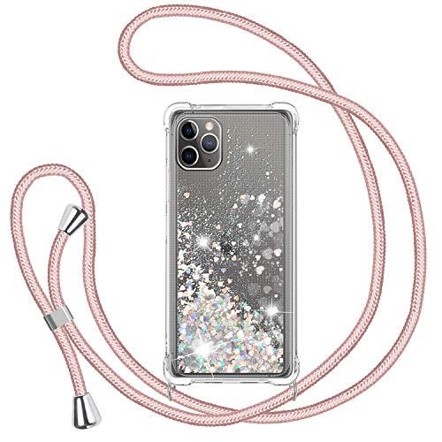 TUUT Funda Glitter Liquida con Cuerda para iPhone 11 Pro MAX, Glitter Cristal Suave Silicona TPU Bumper Protector Carcasa, Brillante Arena Movediza con Colgante Ajustable Cordón Case -Oro Rosa