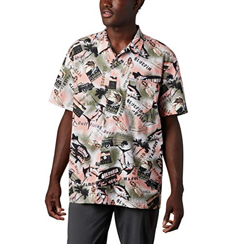 Columbia Camiseta de Manga Corta para Hombre Trollers Best Short Sleeve Shirt, Hombre, 1438981, Sorbet Archive Print Cover Case Negro, S