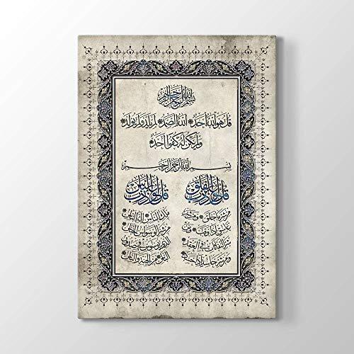 tabloshop Surah Al Ikhlas Al Falaq Al NAS, Muslimisches Geschenk, Islamisches Hauptwanddekor, Moderne Islamische Wandkunst, Einzigartiges Design Leinwandbild (50 x 75 cm, Gerahmt)