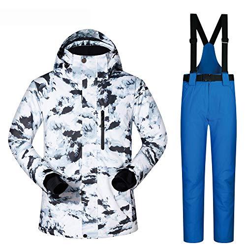 Pu ski suits Snowboard imperméables Veste Coupe-Vent Neige Manteau de Surf des neiges et Pantalon Set (Color : B, Size : L)