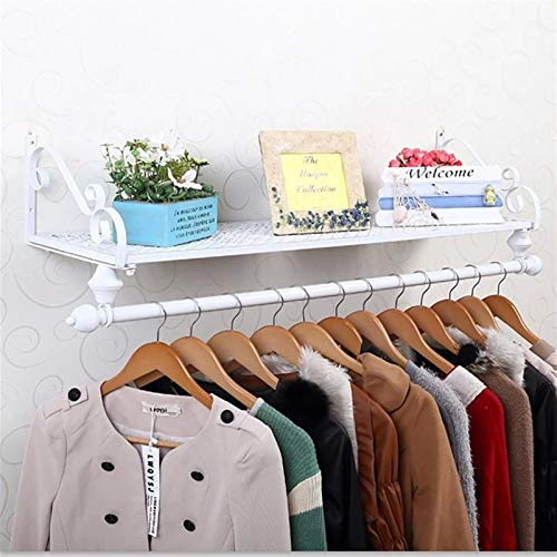 YAN FEI Vintage Clothes Rack Wall Mounted Garment Rack Retro Coat Rack with shelf Hanger Storage for Clothing Display Heavy Duty Coat Rack (Color : WHITE, Size : 60X28CM)