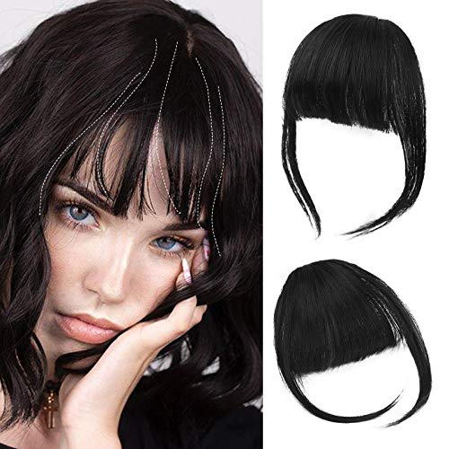 SEIKEA Clip in Bangs Synthetic Hair Bangs Extensions Clip on Fringe Bangs Flat neat Bangs with Temples 1 Piece Hairpiece Color Black
