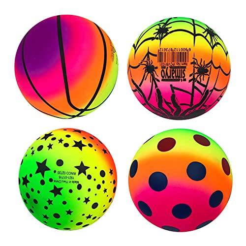 AIHOME Bolas de patio de recreo, Rainbow PVC Deportes Kickball para niños al aire libre Dodgeball Kickball Handball Juego de balonmano