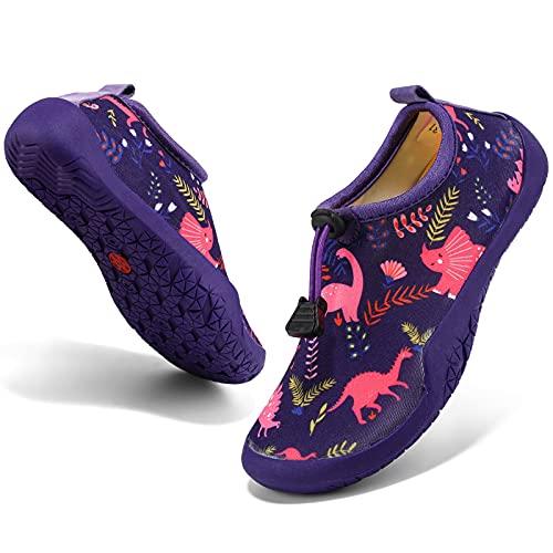 KVbabby Zapatos de Agua Descalzo para Niño Niña Calcetines de Natación Antideslizante Zapatos de Playa Zapatillas de Piscina,Morado,32 EU