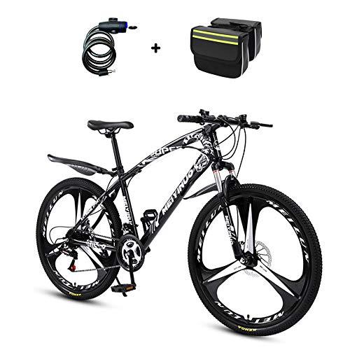 ZHIPENG Vollgefedertes Mountainbike, 26-Zoll-Mountain-Offroad-Fahrzeug, Verdicktes Material Aus Kohlenstoffhaltigem Stahl, Doppelscheibenbremse, Empfindliche Bremse,Schwarz