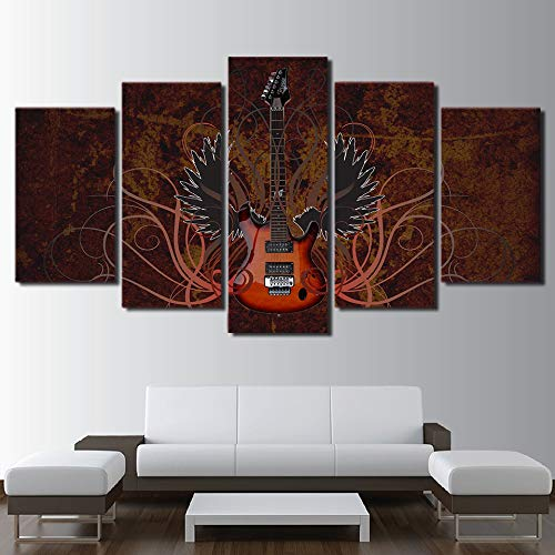 WJDJT 5 stuks kunstdrukken op canvas, muziekinstrument, abstract, vleugels, gitaar, bedrukt, kunstdruk, wanddecoratie, 200 x 100 cm 125x60cm