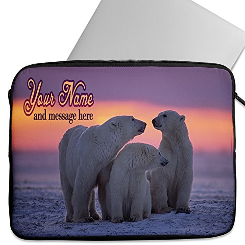 KRAFTYGIFTS Personalised 12' - 14 Laptop Sleeve POLAR BEAR Neoprene Work School Travel Cover Bag Universal Case Inch Tablet ST338 - ADD NAME