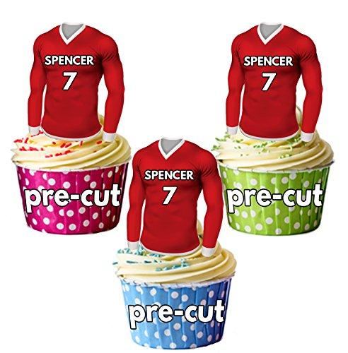 AK Giftshop PRECUT gepersonaliseerde eetbare voetbal shirts met uw gekozen naam & NUMBER - Cupcake toppers/taart decoraties Liverpool kleuren (Pack van 12)