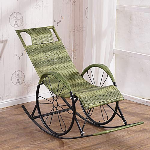 ATTDDP Rocking Chair Patio Chairs Living Room Chair Swinging Chair,with Rattan Seat,for Outdoor Garden Living Room Bedroom,H