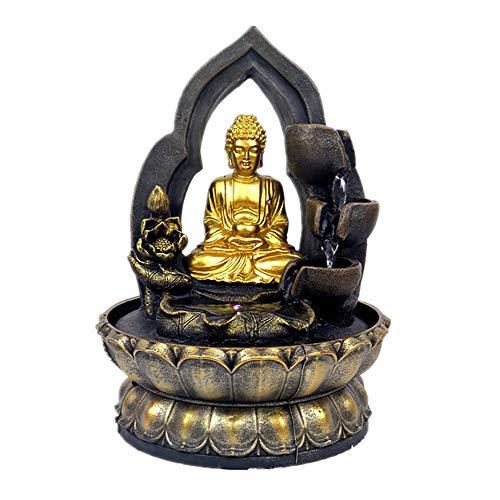YHDP Meditation Buddha Innen Und Außen Tischfontänen Für Den,Led Mit Licht Statue Buddha-brunnen,Garten Terrasse Deck Außendekoration Der Veranda Golden 11inch