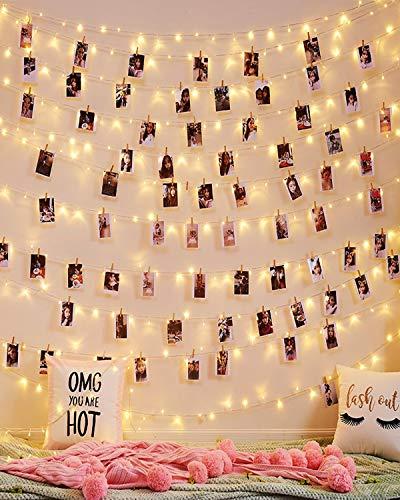 Cadena de luces con clips de fotos, luces parpadeantes con clips, funciona con pilas, para bodas, fiestas, Navidad, dormitorio, pared, patio, decoración del hogar, para colgar...