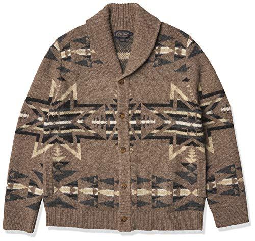 Pendleton Men's Shetland Shawl Cardigan Sweater, Plains Star Grey/Tan,...