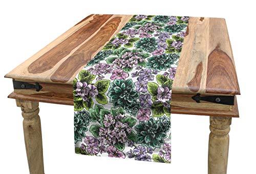 ABAKUHAUS Blumen Tischläufer, Usambaraveilchen Pfingstrosen, Esszimmer Küche Rechteckiger Dekorativer Tischläufer, 40 x 225 cm, Mehrfarbig