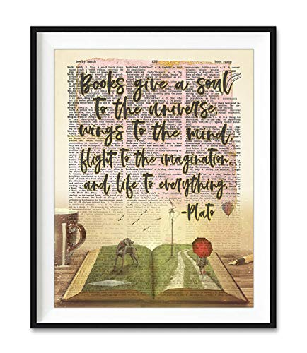 Plato Quote, Books Give a Soul to the Universe Art Print, Unframed, Vintage Literary Highlighted Dictionary Page Wall Art Decor Poster Sign, All Sizes