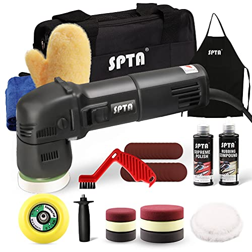 SPTA Buffer Polisher, Orbital Car Polisher 3 Inch 10mm/780W Variable Speed Orbit Dual Action Polisher Auto Detailing Tools with DA Polishing Pads+Sanding Discs+Pad Conditioning Brush+Scratch Remover