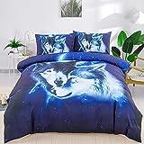 WONGS BEDDING Bettwäsche 135x200 cm Microfaser 3D Wolf Bettbezug Set 2 teilig Bettwäsche Set 1 Flauschige Bettbezug mit Reißverschluss und 1 mal 50x75cm Kissenbezüge-Blau&Weiß