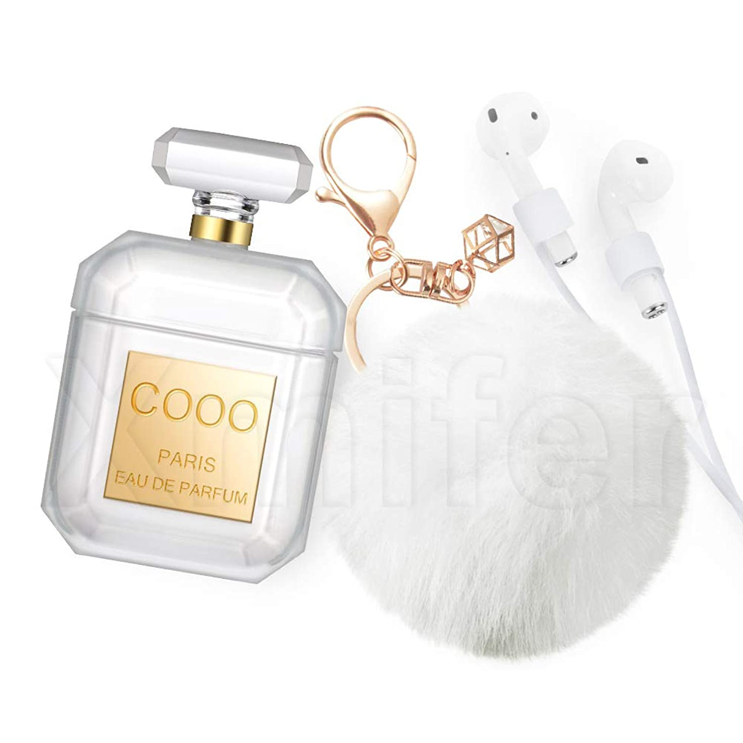 Xmifer AirPods Case, Cute Airpods Case Keychain Drop Proof (Silicone Skin for AirPods Charging Case 2/1) with Fluffy Fur Ball Keychain for Airpods 2/1 Perfume Bottle Gold with Strap