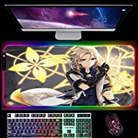 RGBゲーミングマウスパッド原神インパクトゲーミングマウスパッドコンピューターキーボード用大型LEDビッグマウスマットデスクマットRGBグローイング900x400x4mm