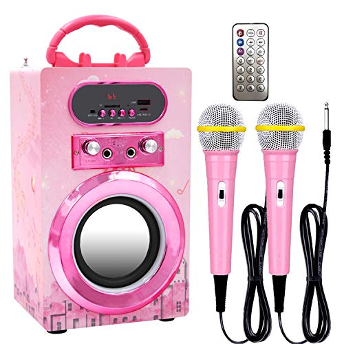 Kidsonor Kids Bluetooth Karaoke Machine with 2 Microphones, Wireless Rechargeable Remote Control Portable Karaoke Speaker Music MP3 Player Loudspeaker with Microphones for Kids (Pink)