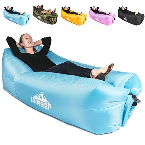 KyRush It Inflatable Lounger air couch chair sofa pouch   Lazy hammock blow up bag   Lounge outdoor at the beach or camping   Lay loungers chairs are the best outdoor wind hammocks around
