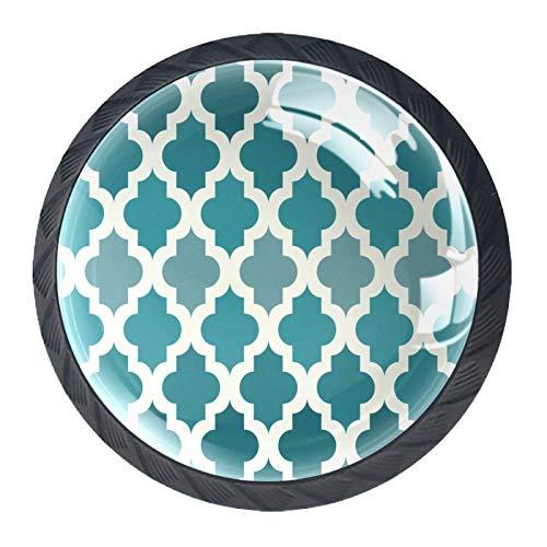 4 pomos redondos para aparador – Manija decorativa colorida para cajones de decoración del hogar, pomos de madera blanca marroquí, verde esmeralda