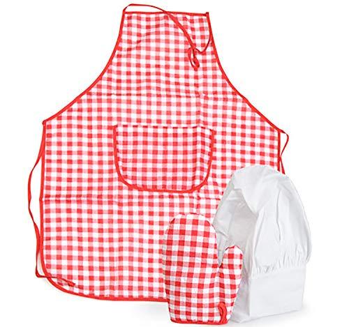 Egmont Toys Kinder Schürze mit Handschuh, Kostüm Gärtner Bäcker Koch Kinderschürze (Rot)