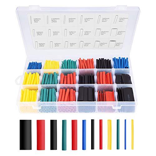 Eventronic Schrumpfschlauch Elektrische Isolierung Schrumpfschlauch Kabelhülle 5 Farben 12 Größen, 900 Stk