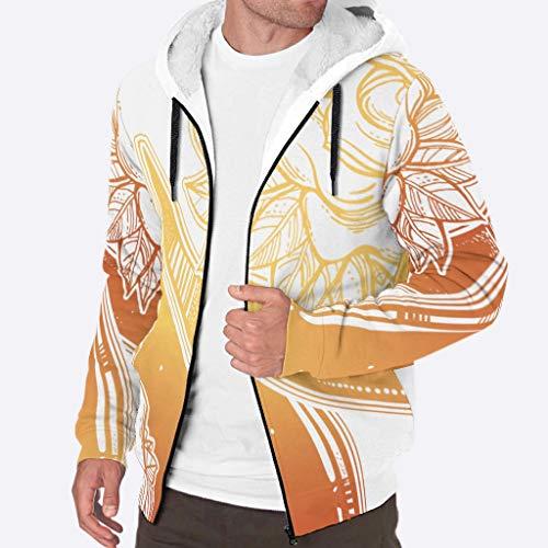 JEFFERS Herren Kapuzenjacke mit durchgehendem Reißverschluss, dicke Wolle, warme Winterblume, Halbmond, goldfarben XL weiß