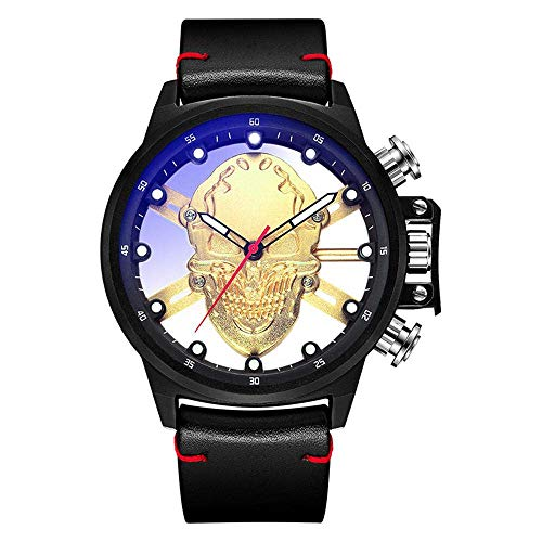 ZGYQGOO Herren Totenkopf-Uhr 3D Hollow The Skull Watch Skelett PU Leder Wasserdicht Leuchtendes Quarz Uhrwerk Wasserdicht Leuchtend Geburtstag Geschenk Gold
