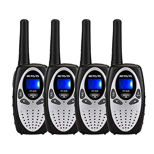 Retevis RT628 Kids Walkie Talkies 4 Pack,Easy to Use Walkie Talkies for Kids 22 Channels Toy with Keyboard Lock,Long Range Walky Talky for Outside, Camping, Hiking(Silvery,4 Pack)