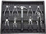 Carro de herramientas de Kraftwelle con 7 cajones, completamente lleno de herramientas, con compartimento lateral con cerradura para un trabajo seguro, Negro