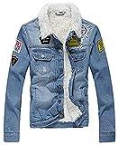 AvaCostume Men's Winter Fleece Lined Patch Denim Jacket Coats, Light Blue Medium