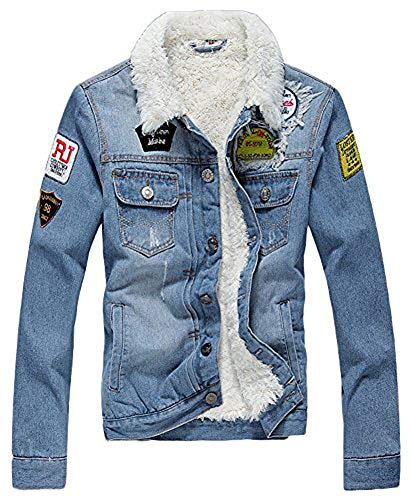 AvaCostume Men's Winter Fleece Lined Patch Denim Jacket Coats, Light Blue Small
