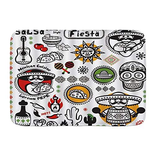 Minalo Dekorativer Badezimmer Boden Teppich,Mexikanische Latino-Kultur Dead Sugar Skull Head Poncho Küche Salsa Fiesta Artwork,Badematte rutschfest,75 x 45 cm
