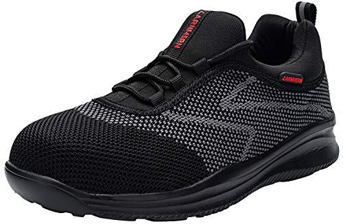 LARNMERN Zapatillas de Seguridad Hombre, Zapatos con Punta de Acero Zapatos de Trabajo Ligeros y Transpirables Zapatos Deportivos Casuales(46 EU, Negro)